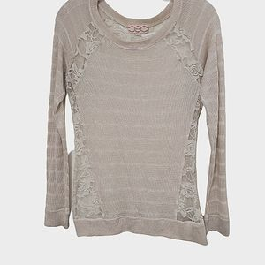 Pink Rose Lace Rose Womans Pullover Sweater